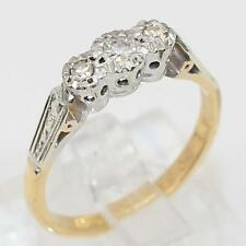 Vintage Diamond Engagement Three Stone Ring 18KY Gold Platinum Size 6