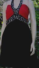 LIVE 2 LOVE Black Red Gem Hatlerneck Lined Cocktail Party Dress Size 12 BNWT