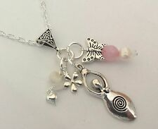 Fertilità e amore Healing Charm Collana le gemme Moonstone ROSE QUARTZ Pearl