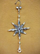 Clear Crystal Jeweled SNOW FLAKE Christmas Ornament Decor Silver Ovid Gems 10""