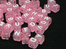 50 Pcs - Acrylic 6mm Pink Cube Alphabet Letter Beads Random Mix Kids Craft G60