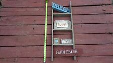"33"" Weathered Wood wall Ladder 3 step Vintage Old Barn Primitive Farmhouse Decor"