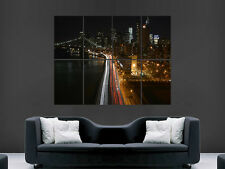 MANHATTEN NEW YORK CITY NIGHT LIGHTS  ART WALL LARGE IMAGE GIANT POSTER