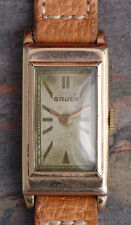 Gruen 30s Vintage Art Deco Engraved Stepped Case Running 15j Cal 165 New Band