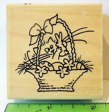 Stampendous FLUFFLES BUNNY rubber stamp NEW Cat Easter rabbit Basket