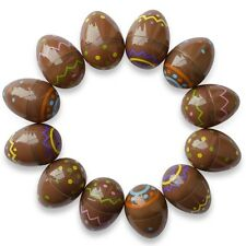 12 Chocolate Colored Empty Fillable Plastic Easter Eggs