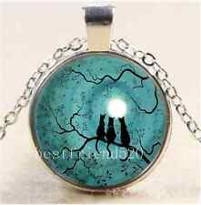 Three Cat In Tree Of Life Cabochon Glass Tibet Silver Chain Penda Necklace#2333