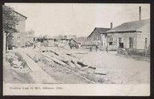 Postcard ALLIANCE Ohio/OH  Hauling Logs to Area Lumber Mill Factory/Plant 1907