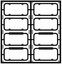 MODEL CAR GARAGE 2009 1/24-1/25 VINTAGE LICENSE PLATE FRAMES (8 PCS.) PHOTO ETCH