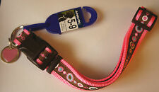 PINK DESIGNER ANCOL DOG COLLAR SIZE 5-9 45-70CM + FREE ENGRAVED HEART ID TAG