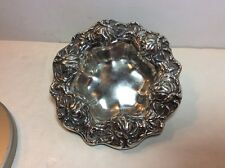 Antique Frank M Whiting Reposse Ornate Floral Rose Sterling Silver Bowl Dish 397