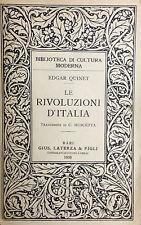 LE RIVOLUZIONI  D'ITALIA  EDGAR QUINET