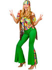 Adult 60s 70s Groovy Hippie Hippy Flower Power Womens Ladies Fancy Dress Costume