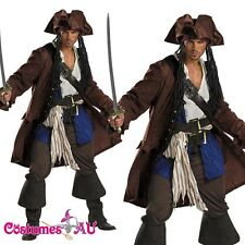 Mens Pirates Of The Caribbean Captain Jack Sparrow PRESTIGE Adult Costume S-M