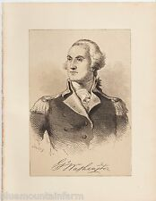 Antique 1877 Print Art Bookplate Engraving History Portrait of George Washington