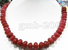 "5x8mm Natural Red Ruby Jade Abacus Gemstone Necklace 18""AAA"