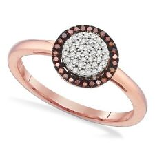 Attractive! 100% 10K Rose Gold Red & White Diamond Round Cluster Ring .15ct