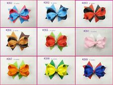 "LOT  9pc mix girl baby child 4"" boutique Hair Bows Grosgrain ribbon 261"