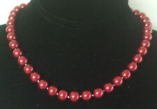 10MM Rich Red South Sea Shell Pearl Necklace NEW (in a silk gift bag) B24