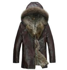 Mens Genuine leather Raccoon real fur collar jacket coat trench hoody outwear