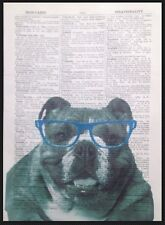 British Bulldog Dog Print Vintage Dictionary Page Wall Art Picture Geek Glasses