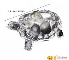 CRYSTAL CLEAR TORTOISE TURTLE FOR FENG SHUI VAASTU GIFT CAREER AND LUCK 2.5 Inch