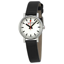 Mondaine Evo Petite White Dial Black Leather Ladies Watch A6583030111SBB