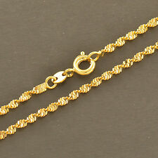 24K Yellow Gold Filled Water Wave Chain Necklace 17.7 inches Long Fit Pendant
