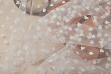 0.5yard ivory heart veil,white lace fabric-LSF00023,little heart-shaped tulle