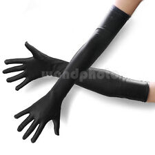 Black Stretch Long Elbow Satin Gloves Party Wedding Bridal Prom Evening Dress