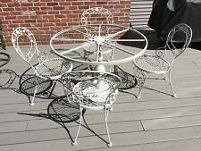 WOODARD CHANTILLY ROSE Wrought Iron Patio Furniture Pedestal Table & Chairs