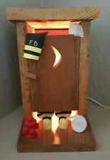 Fireman Wood Outhouse Night Light Funny Moon Table Lamp Father Dad Mom Gift CUTE