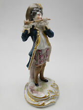 Antique Meissen Porcelain Lace Trimmed Man with Flute Figure 7in