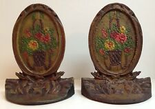 Basket of Flowers, Cast Iron Polychrome Bookends, ca. 1925