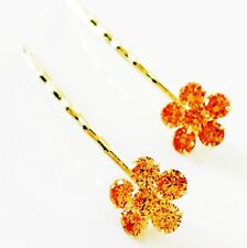 USA Bobby Pin using Swarovski Crystal Hair Clip Bridal Wedding Flower Gold