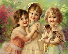 Handmade Oil Painting repro Emile Vernon Best of Friends