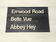 """Manchester Linen Bus Blind May 1976 (24"""") Errwood Road Belle Vue Abbey Hey"""