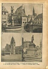 Fontaine de Thann/Statue Maréchal Fabert Gare de Metz/Pont  1918 ILLUSTRATION