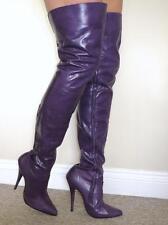 Sexy violet matt cuir cuisse longueur bottes avec intérieur fermeture éclair uk 10 eu 43