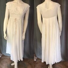 Vintage 1930's Crepe Silk Lace Wedding Lingerie Dress Watteau Waterfall Train