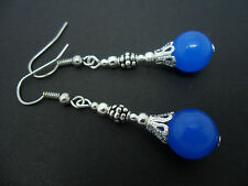 A PAIR OF SILVER PLATED BLUE  JADE DANGLY   EARRINGS. NEW.