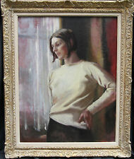 ALICE MARY BURTON 1893-1968 BRITISH PORTRAIT OIL PAINTING WOMAN 1955 ART