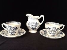 "J.G. Meakin Classic White Blue Onion  ""Nordic"" 2 Cups, 2 Saucers & Cream Pitcher"