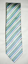 NWT Geoffrey Beene Ivory, Blue, Green, and Grey Striped Silk Tie FREE SHIPPING