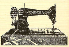 Singer Sewing Machine Wood Mounted Rubber Stamp Impression Obsession NEW