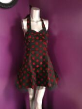 HEARTS AND ROSES HALTER DRESS BLACK WITH BURGANDY POLKA DOTS 10 SML NEW WITH TAG