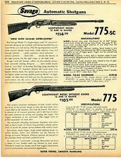 1956 Print Ad of Savage Model 775 Lightweight & 775SC Super Choke Shotgun