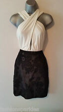 BNWT New HEDONIA LIPSY Black White Plunge 2 Way Lace Flock Skirt Dress 10 £65
