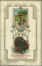 1910 Used thanksgiving postcard series 907 mother & daughter carrying wheat