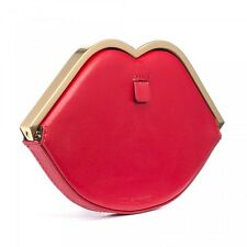 New LULU GUINNESS Red Smooth Leather Lip Frame Purse/Clutch bag rrp £170